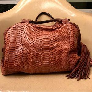 Badgley Mischka Snakeskin Tassel Bag